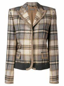 Alberta Ferretti check print fitted blazer - Brown