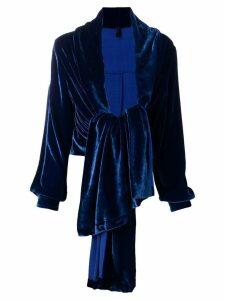 Unravel Project silk deconstructed blazer lipstick - Blue
