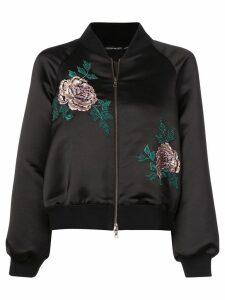Josie Natori embroidered bomber jacket - Black
