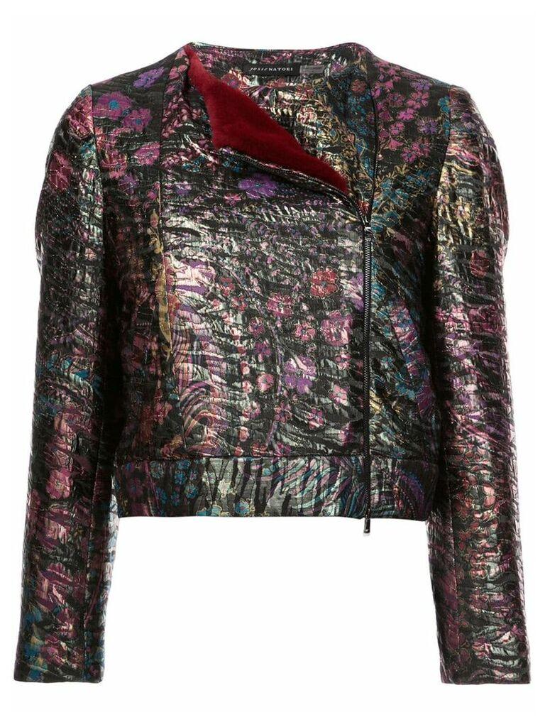 Josie Natori faux fur trim jacquard jacket - Black