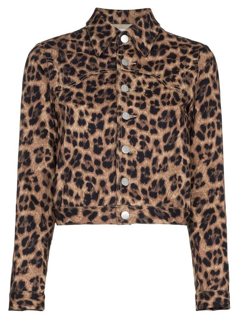 Miaou Lex leopard print cropped cotton blend jacket - Brown