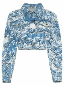 Off-White tapestry cropped denim jacket - Blue