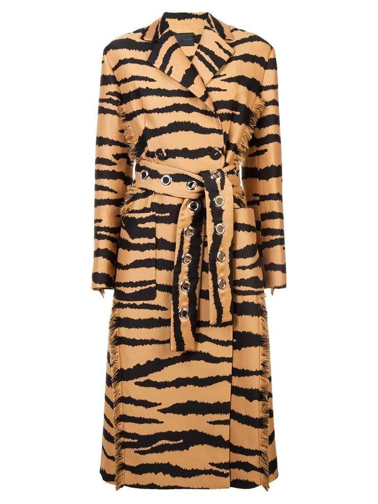 Proenza Schouler Tiger Jacquard Belted Coat - Brown