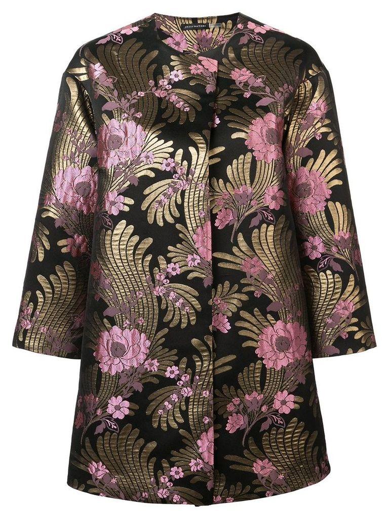 Josie Natori Deco jacquard long jacket - Black