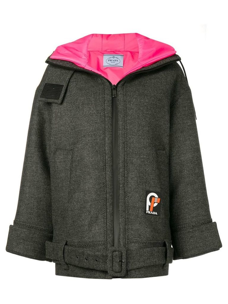 Prada long length hooded jacket - Grey