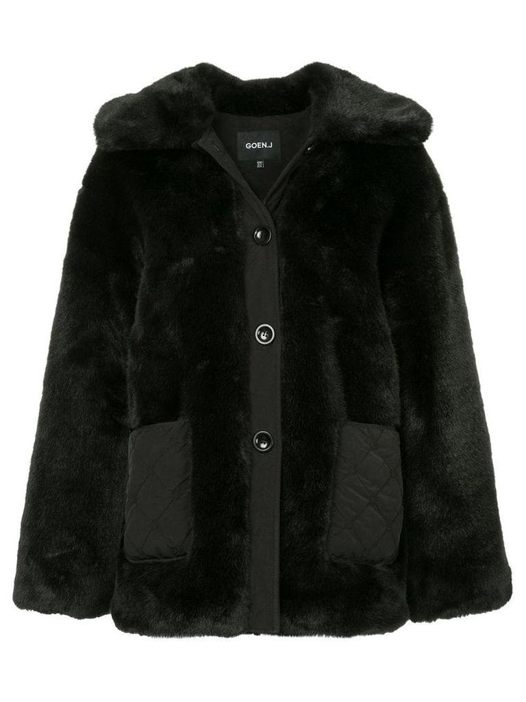Goen.J oversized faux-fur jacket - Black