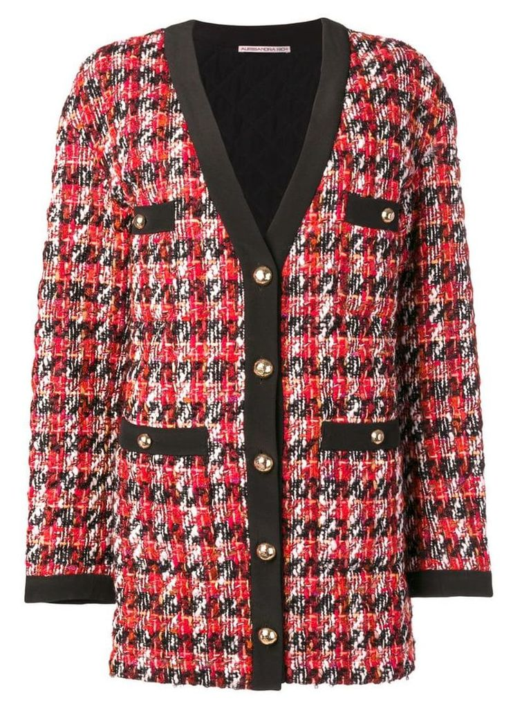 Alessandra Rich long tweed jacket - Black
