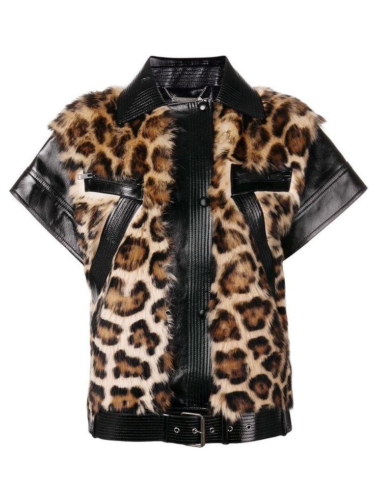 Givenchy zipped leopard vest - Black