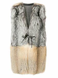 Liska fur trimmed gilet - Grey