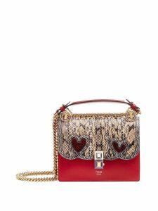 Fendi Kan I snakeskin panel shoulder bag - Red