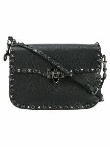 Valentino Black Leather Rockstud Messenger bag