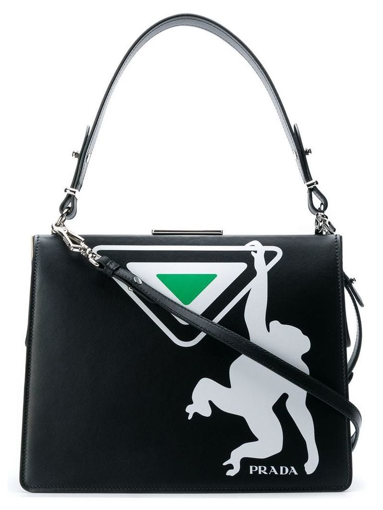 Prada monkey printed shoulder bag - Black