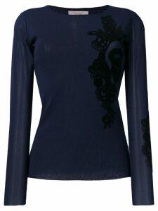 D.Exterior lace detail blouse - Blue