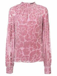 Josie Natori Burnout velvet mockneck top - Pink