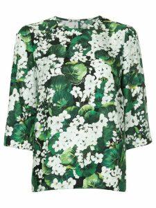 Dolce & Gabbana white geranium printed top - Green