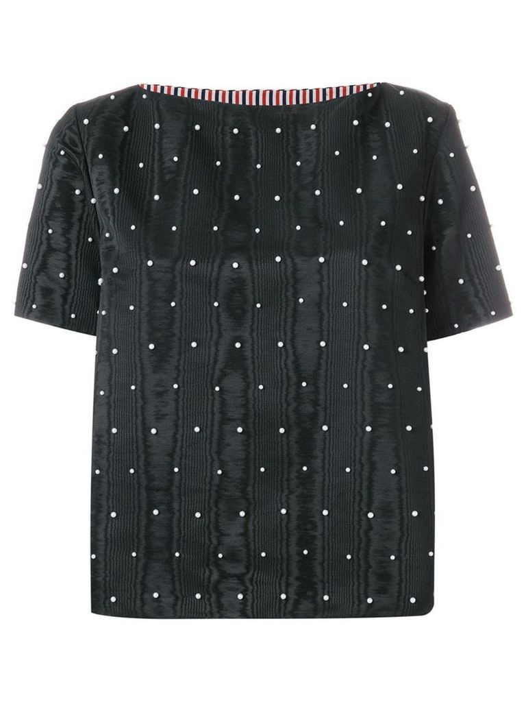 Thom Browne Pearl Embroidered Moire Tee - Black