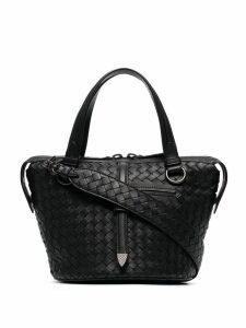 Bottega Veneta Black Tambura Woven Leather Shoulder Bag
