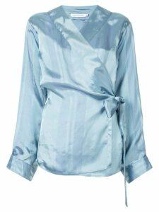 Christopher Esber striped pattern wrap blouse - White