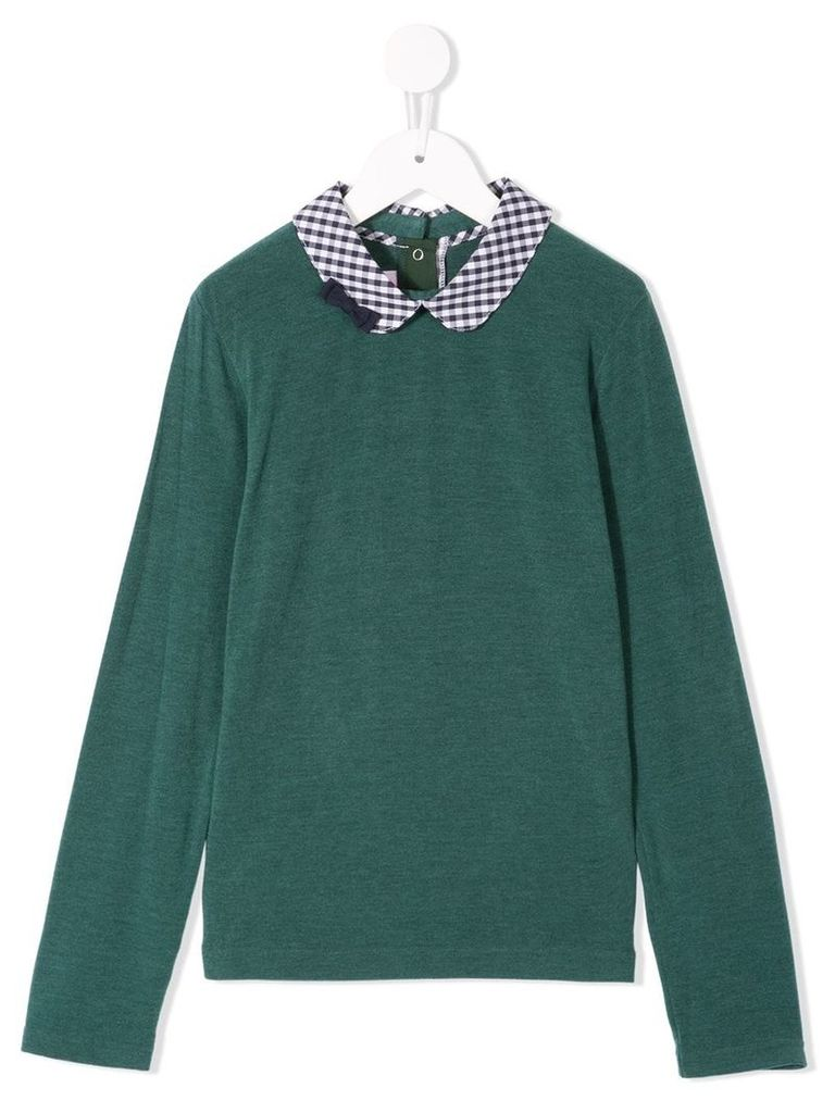 Familiar peter pan collar top - Green