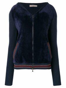 D.Exterior panelled velour hoodie - Blue