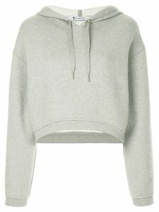 T By Alexander Wang cropped dense fleece hoodie - Grey