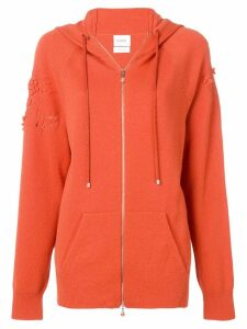 Barrie laddered stitch zipped hoodie - Orange