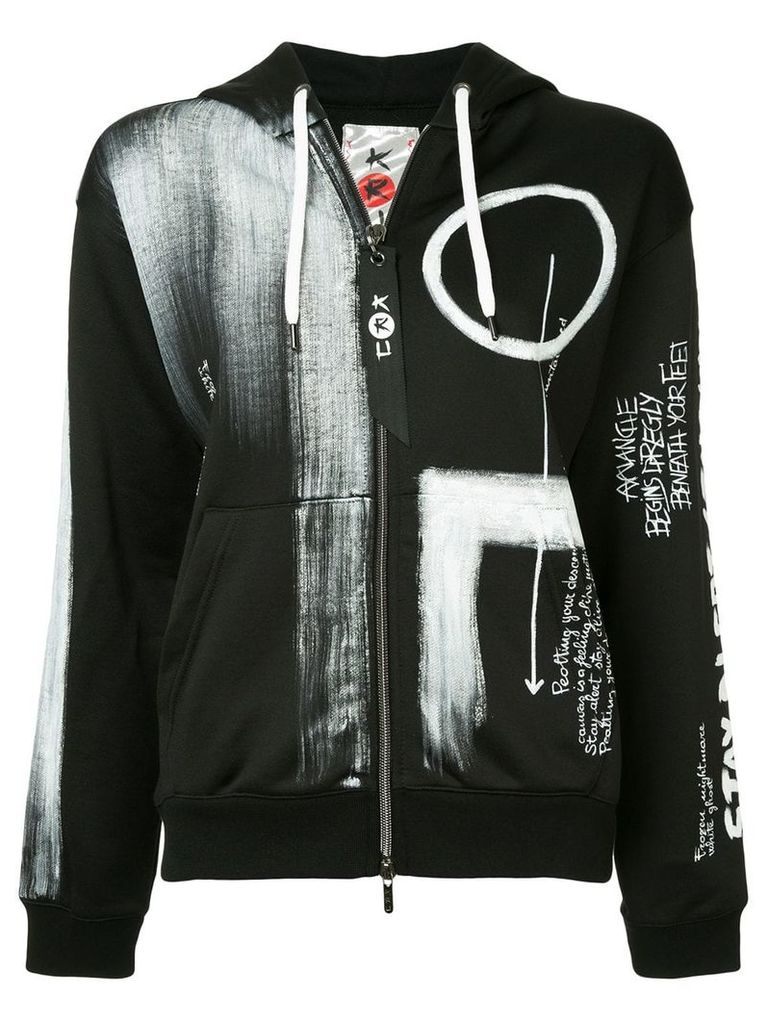 Kru graffiti print hoodie - Black