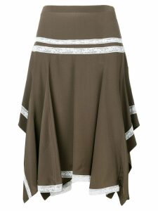Chloé lace-embroidered flared skirt - Brown