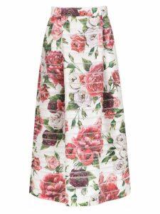 Dolce & Gabbana floral print skirt - White