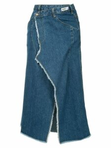 Ground Zero distressed wrapped denim skirt - Blue