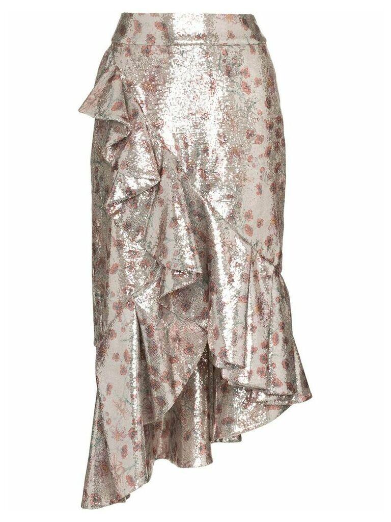 Johanna Ortiz Cacica Asymmetric Sequin Skirt - Grey