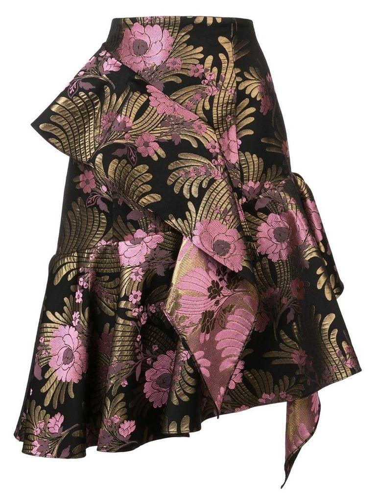 Josie Natori Deco jacquard ruffle skirt - Black