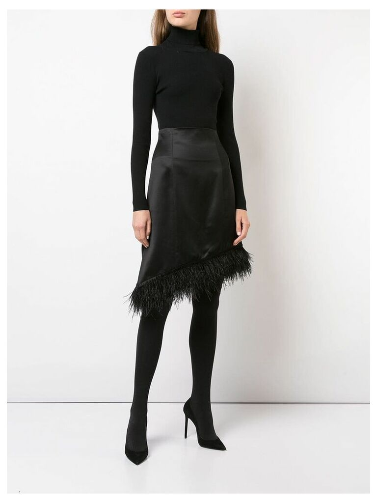 Josie Natori feather-trimmed asymmetric satin skirt - Black
