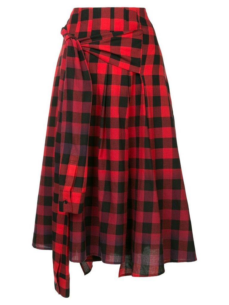 Juun.J asymmetric gingham skirt - Red