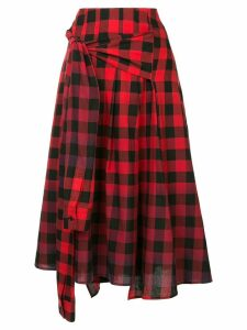 Juun.J asymmetric gingham skirt - Red