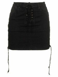 Unravel Project lace-up mini skirt - Black
