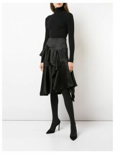 Josie Natori satin ruffle skirt - Black
