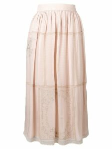 Fendi embroidered flared midi skirt - NEUTRALS