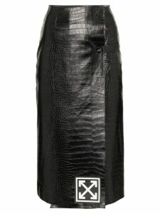 Off-White High-Waisted Leather Pencil Skirt - Black