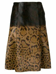 Salvatore Ferragamo animal print midi skirt - Brown