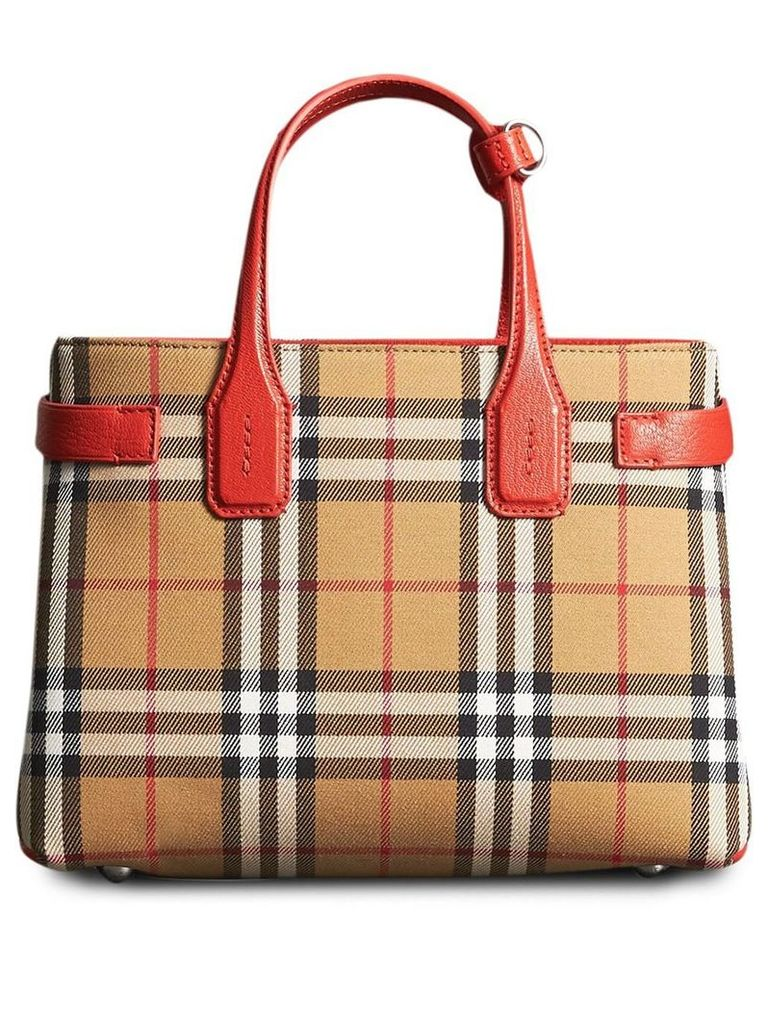 Burberry The Small Banner in Vintage Check and Leather - Yellow