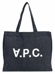 A.P.C. logo print shopper tote - Blue