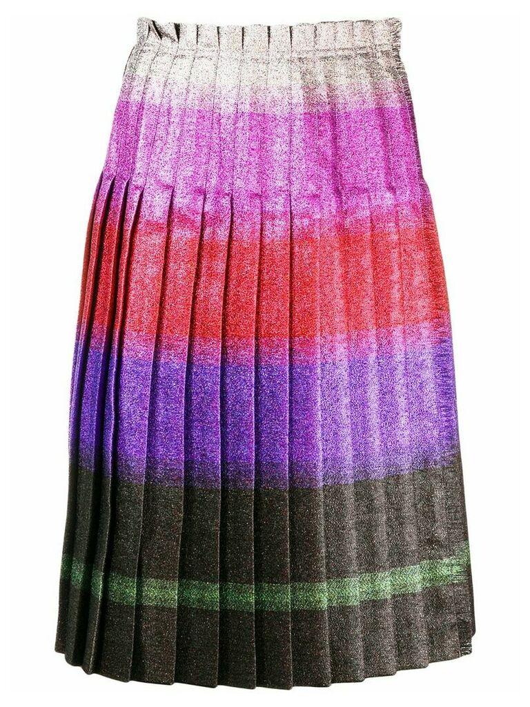Marco De Vincenzo pleated lurex stripe skirt - Pink