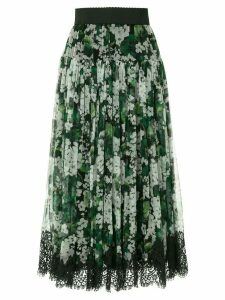Dolce & Gabbana white geranium printed pleated skirt - Green