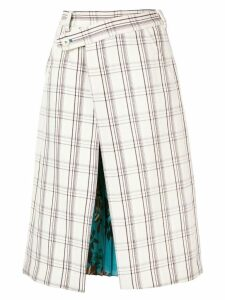 Snow Xue Gao contrasting panels midi skirt - White