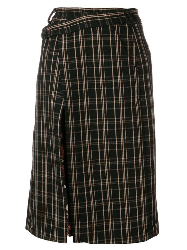 Snow Xue Gao contrasting panels skirt - Black