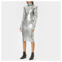 MM6 Maison Margiela Women's Silver Knitted Dress With High Neck - Silver - M - Silver