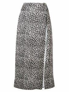 Wandering leopard print midi skirt - Black