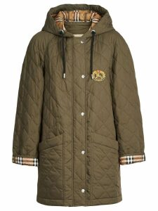 Burberry Lightweight Diamond Quilted Hooded Parka - Green