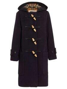 Burberry Vintage Check Detail Wool Blend Duffle Coat - Blue
